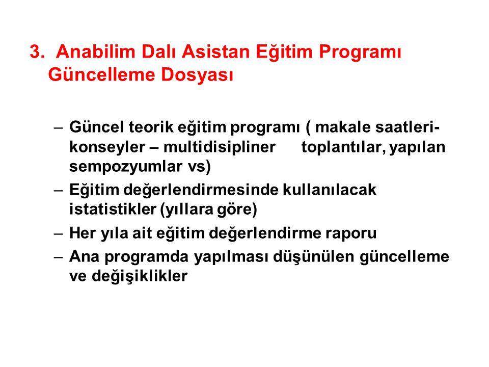 3. Anabilim Dalı Asistan Eğitim Programı Güncelleme Dosyası