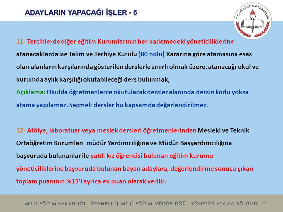 ADAYLARIN YAPACAĞI İŞLER - 5
