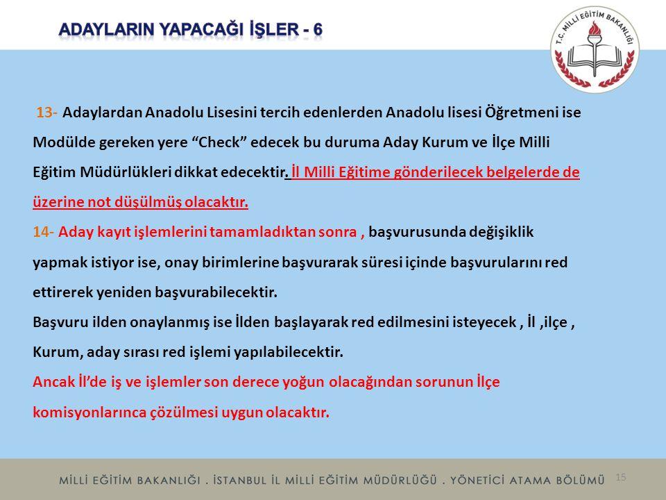 ADAYLARIN YAPACAĞI İŞLER - 6
