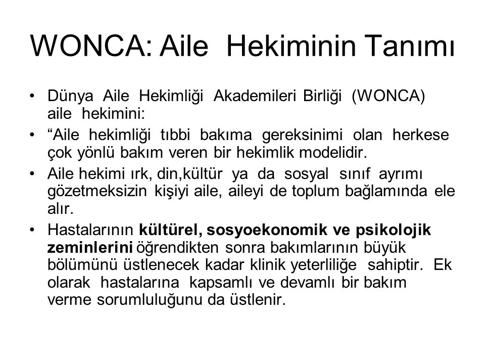 WONCA: Aile Hekiminin Tanımı