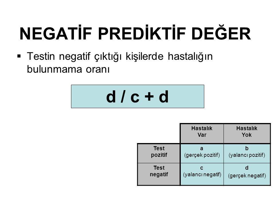 NEGATİF PREDİKTİF DEĞER