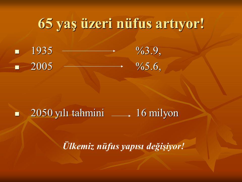 65 yaş üzeri nüfus artıyor!