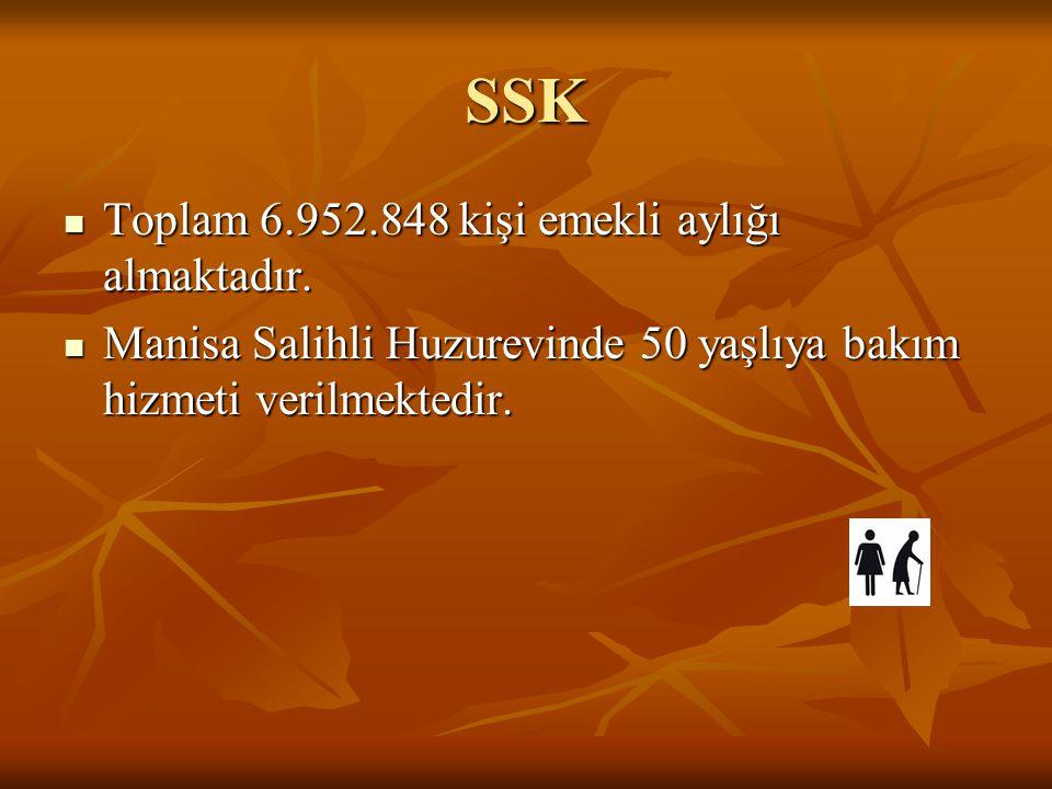 SSK Toplam 6.952.848 kişi emekli aylığı almaktadır.