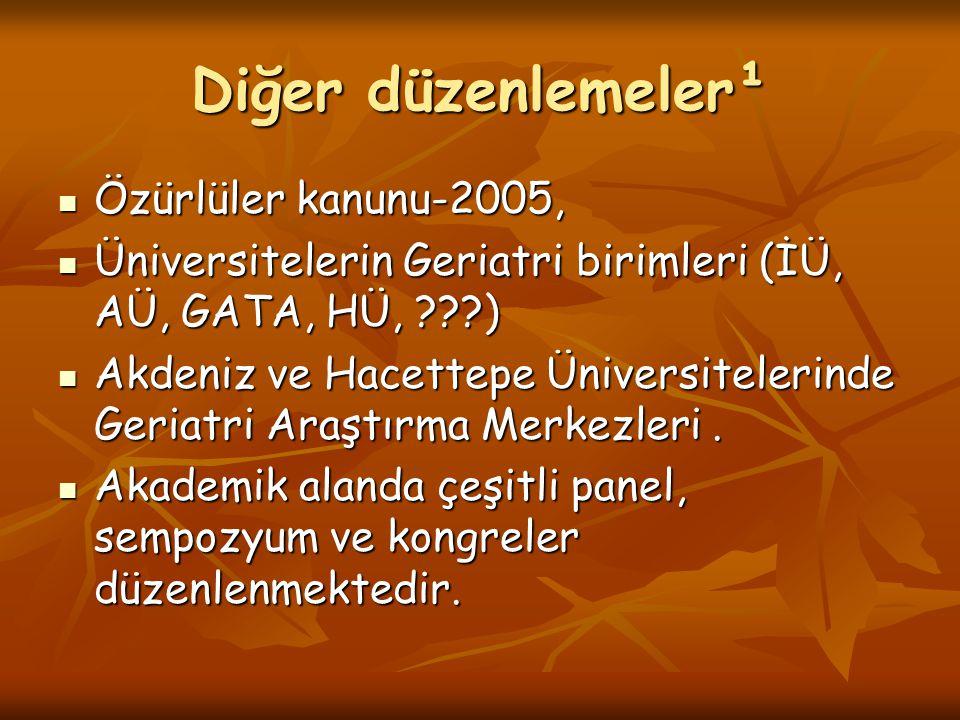 Diğer düzenlemeler¹ Özürlüler kanunu-2005,