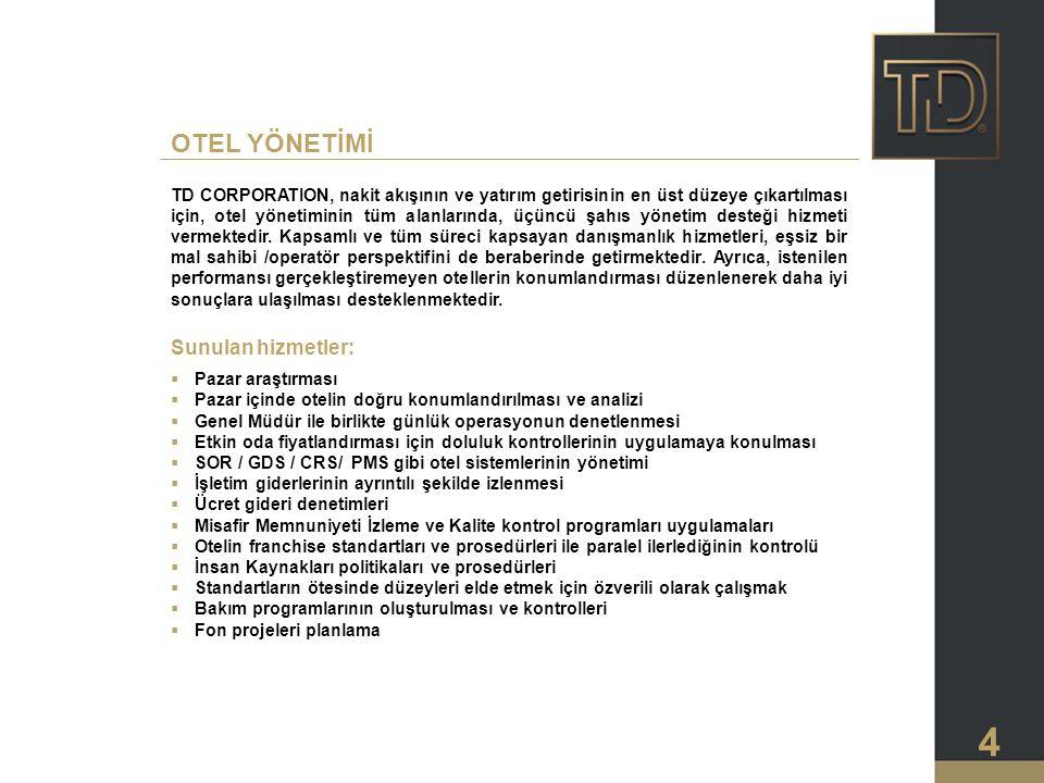 OTEL YÖNETİMİ Sunulan hizmetler: