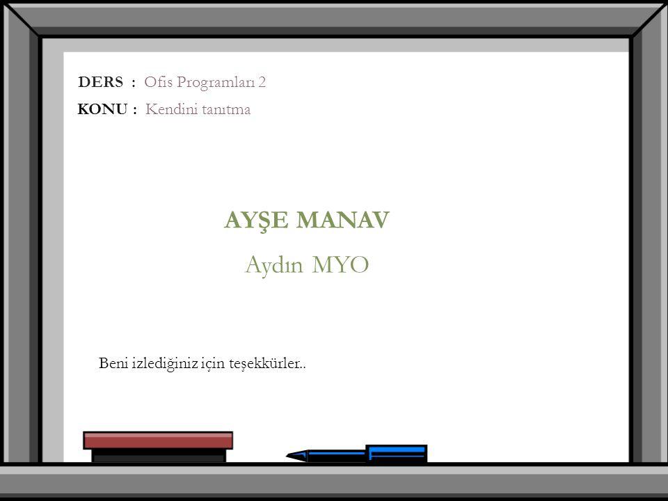 AYŞE MANAV Aydın MYO DERS : Ofis Programları 2 KONU : Kendini tanıtma