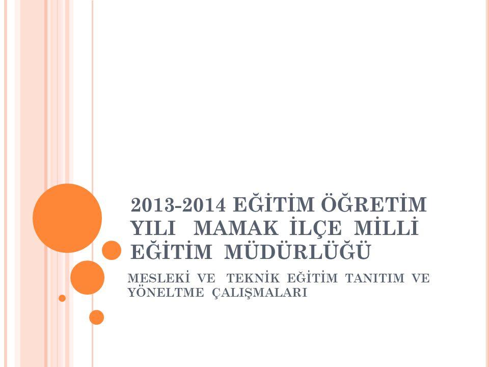 2013-2014 EĞİTİM ÖĞRETİM YILI MAMAK İLÇE MİLLİ EĞİTİM MÜDÜRLÜĞÜ