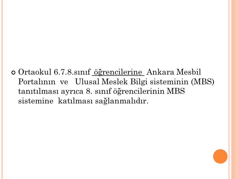 Ortaokul 6.7.8.sınıf öğrencilerine Ankara Mesbil Portalının ve Ulusal Meslek Bilgi sisteminin (MBS) tanıtılması ayrıca 8.