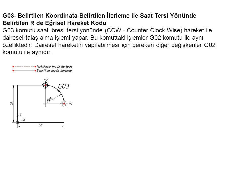 G03- Belirtilen Koordinata Belirtilen İlerleme ile Saat Tersi Yönünde Belirtilen R de Eğrisel Hareket Kodu G03 komutu saat ibresi tersi yönünde (CCW - Counter Clock Wise) hareket ile dairesel talaş alma işlemi yapar.