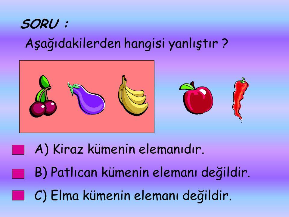 SORU : Aşağıdakilerden hangisi yanlıştır A) Kiraz kümenin elemanıdır. B) Patlıcan kümenin elemanı değildir.