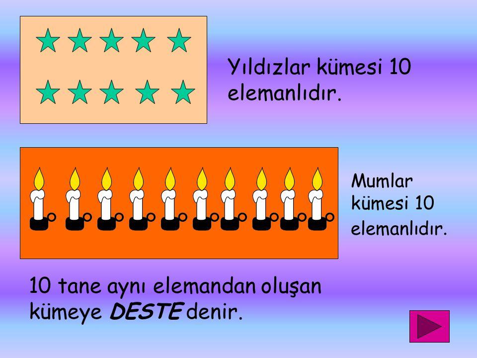 Yıldızlar kümesi 10 elemanlıdır.