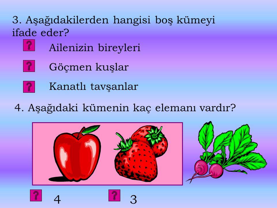 4 3 3. Aşağıdakilerden hangisi boş kümeyi ifade eder