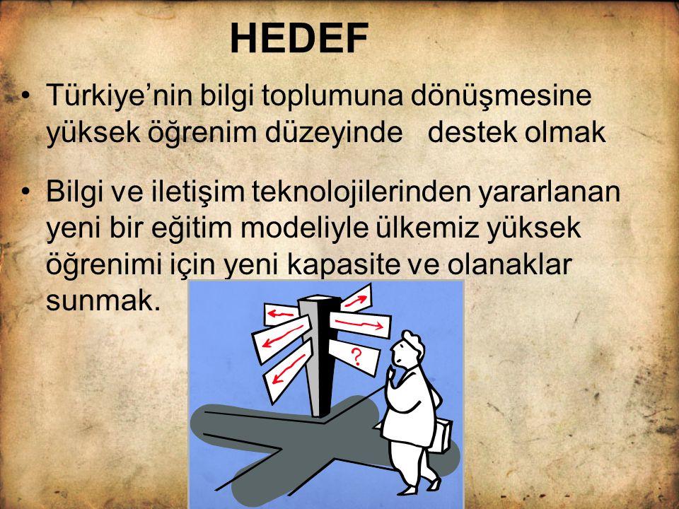 HEDEF Türkiye'nin bilgi toplumuna dönüşmesine yüksek öğrenim düzeyinde destek olmak.