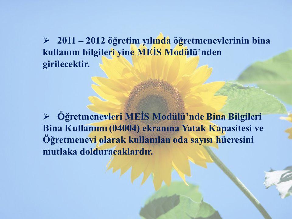 2011 – 2012 öğretim yılında öğretmenevlerinin bina kullanım bilgileri yine MEİS Modülü'nden girilecektir.