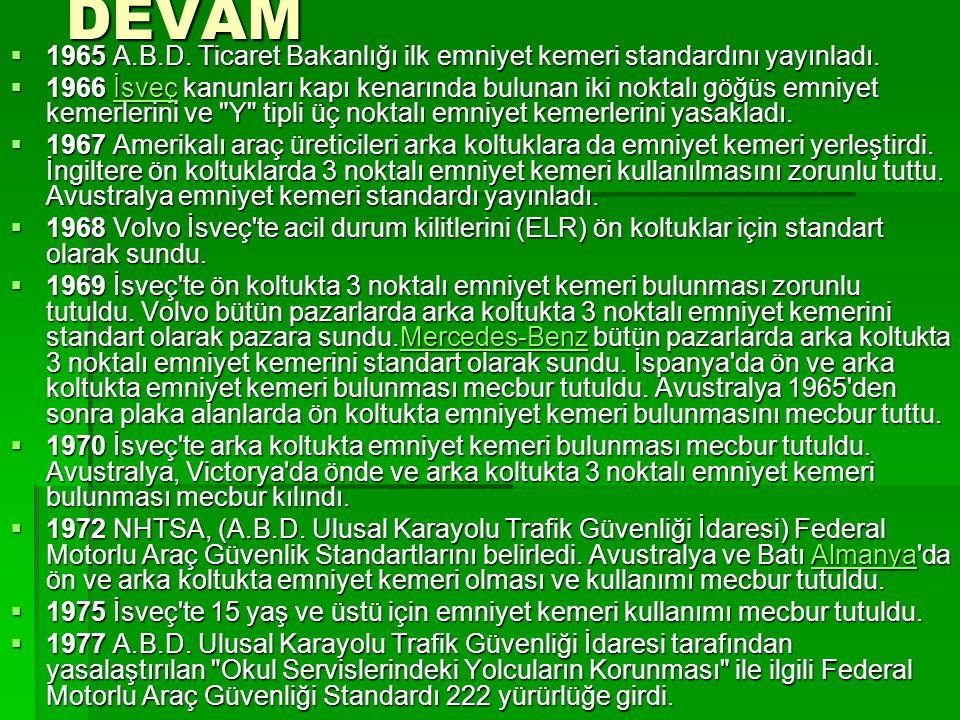DEVAM 1965 A.B.D. Ticaret Bakanlığı ilk emniyet kemeri standardını yayınladı.