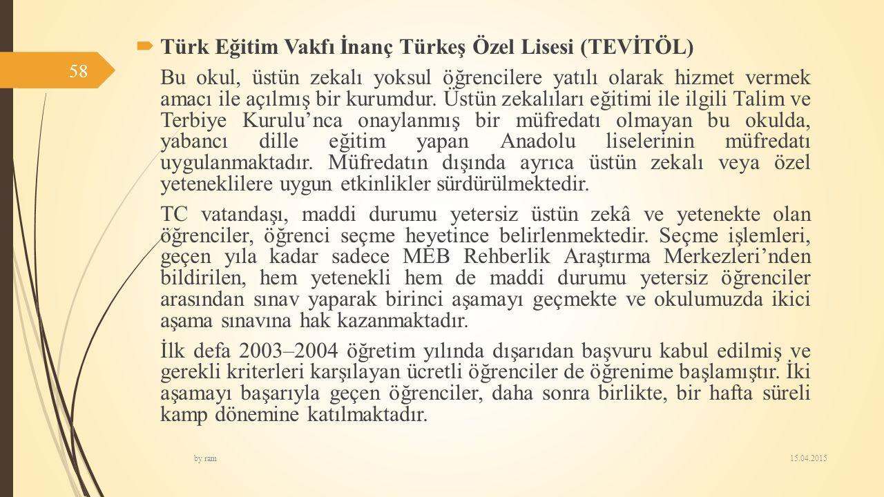 Türk Eğitim Vakfı İnanç Türkeş Özel Lisesi (TEVİTÖL)