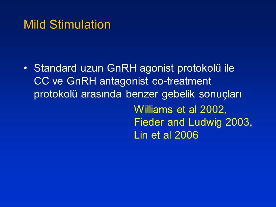 Mild Stimulation Standard uzun GnRH agonist protokolü ile CC ve GnRH antagonist co-treatment protokolü arasında benzer gebelik sonuçları.