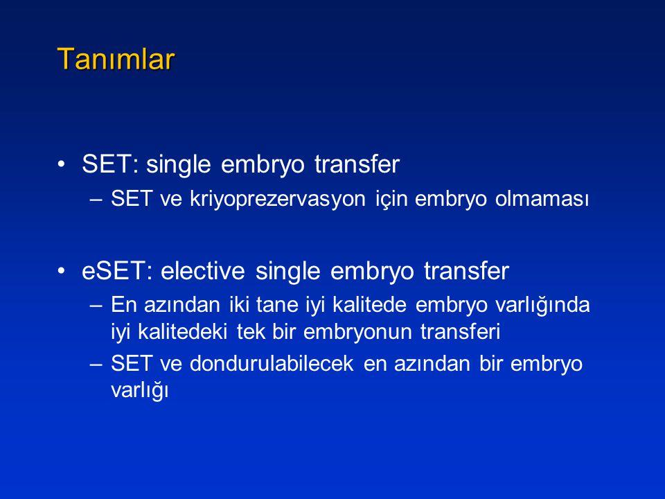 Tanımlar SET: single embryo transfer