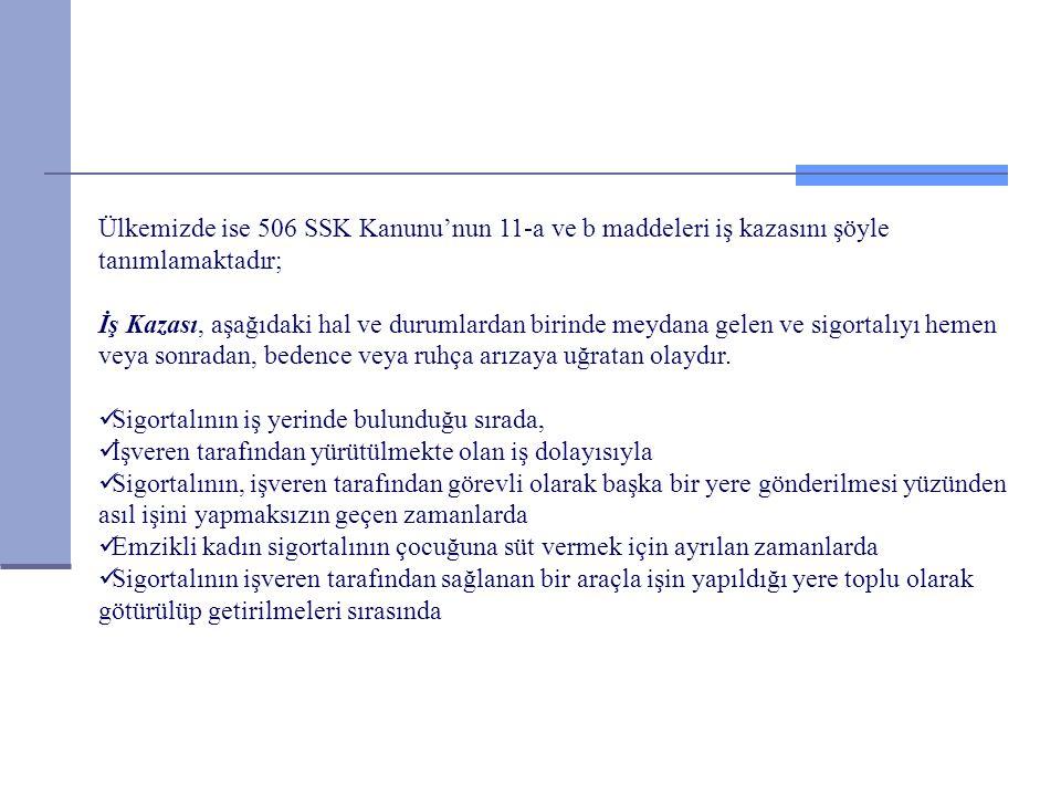 Ülkemizde ise 506 SSK Kanunu'nun 11-a ve b maddeleri iş kazasını şöyle tanımlamaktadır;