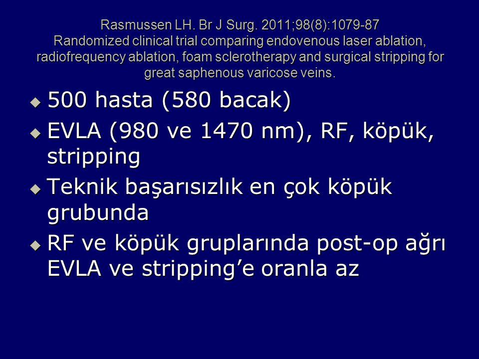 EVLA (980 ve 1470 nm), RF, köpük, stripping