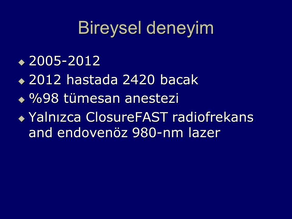 Bireysel deneyim 2005-2012 2012 hastada 2420 bacak