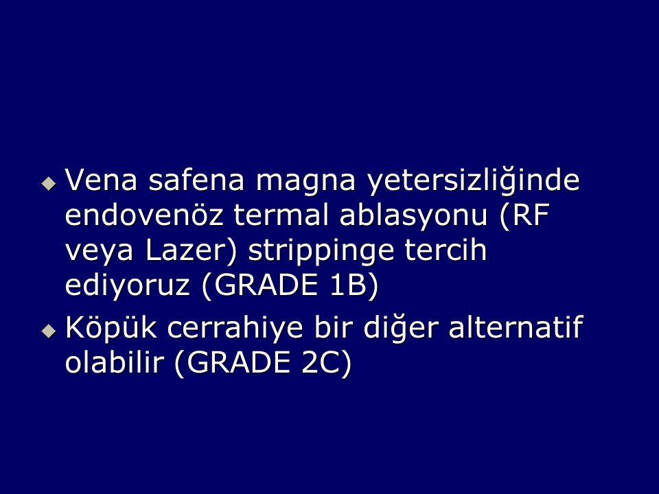 Vena safena magna yetersizliğinde endovenöz termal ablasyonu (RF veya Lazer) strippinge tercih ediyoruz (GRADE 1B)