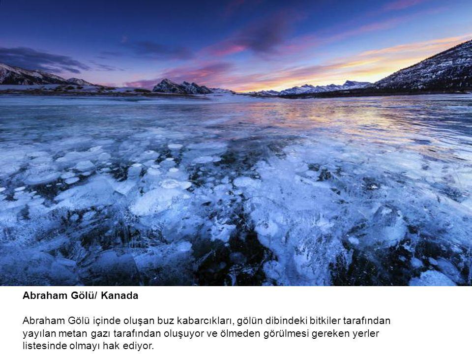Abraham Gölü/ Kanada Abraham Gölü içinde oluşan buz kabarcıkları, gölün dibindeki bitkiler tarafından yayılan metan gazı tarafından oluşuyor ve ölmeden görülmesi gereken yerler listesinde olmayı hak ediyor.