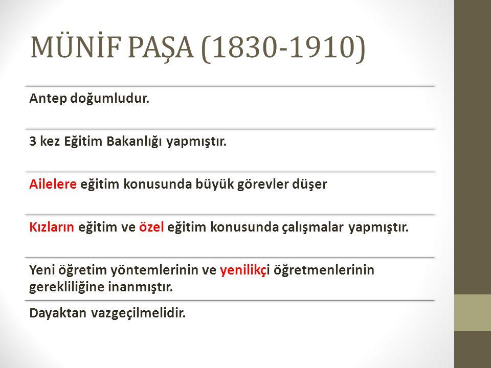 MÜNİF PAŞA (1830-1910) Antep doğumludur.