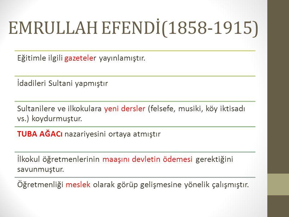 EMRULLAH EFENDİ(1858-1915) Eğitimle ilgili gazeteler yayınlamıştır.