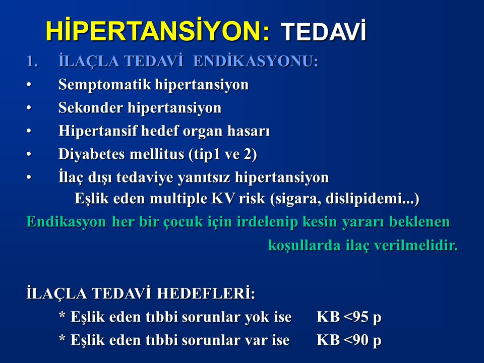 HİPERTANSİYON: TEDAVİ