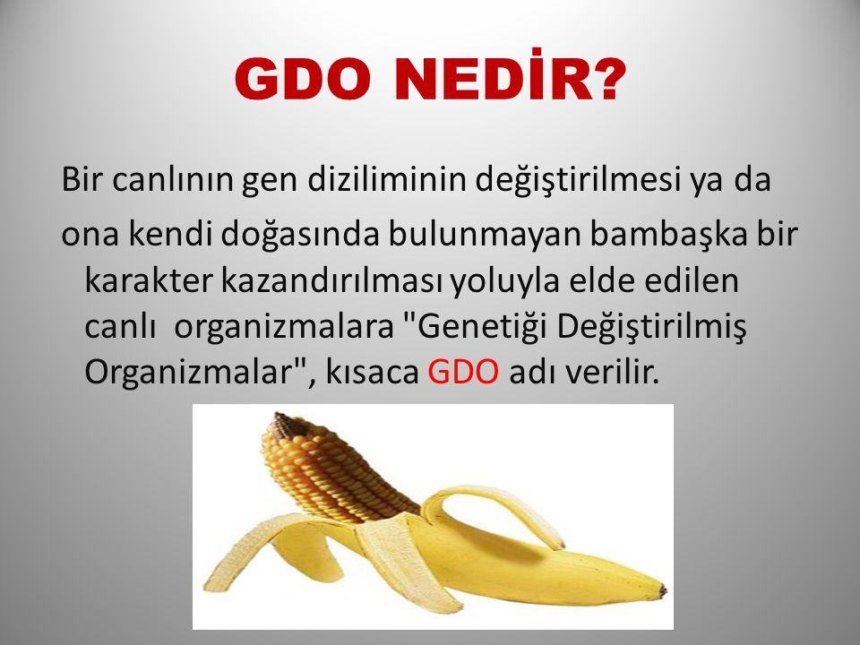 GDO NEDİR Bir canlının gen diziliminin değiştirilmesi ya da
