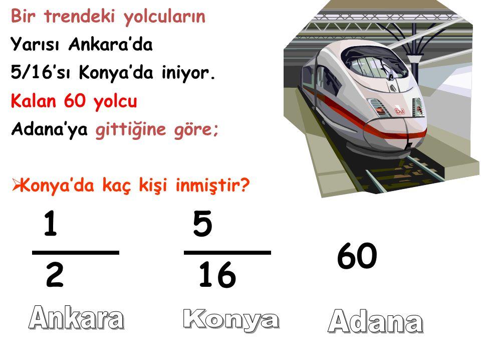 1 5 60 2 16 Ankara Konya Adana Bir trendeki yolcuların