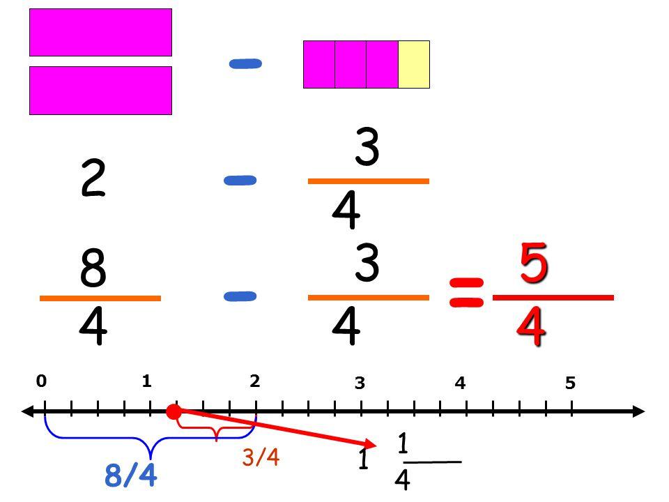 - 3 - 2 4 3 5 8 - = 4 4 4 1 2 3 4 5 1 3/4 1 8/4 4