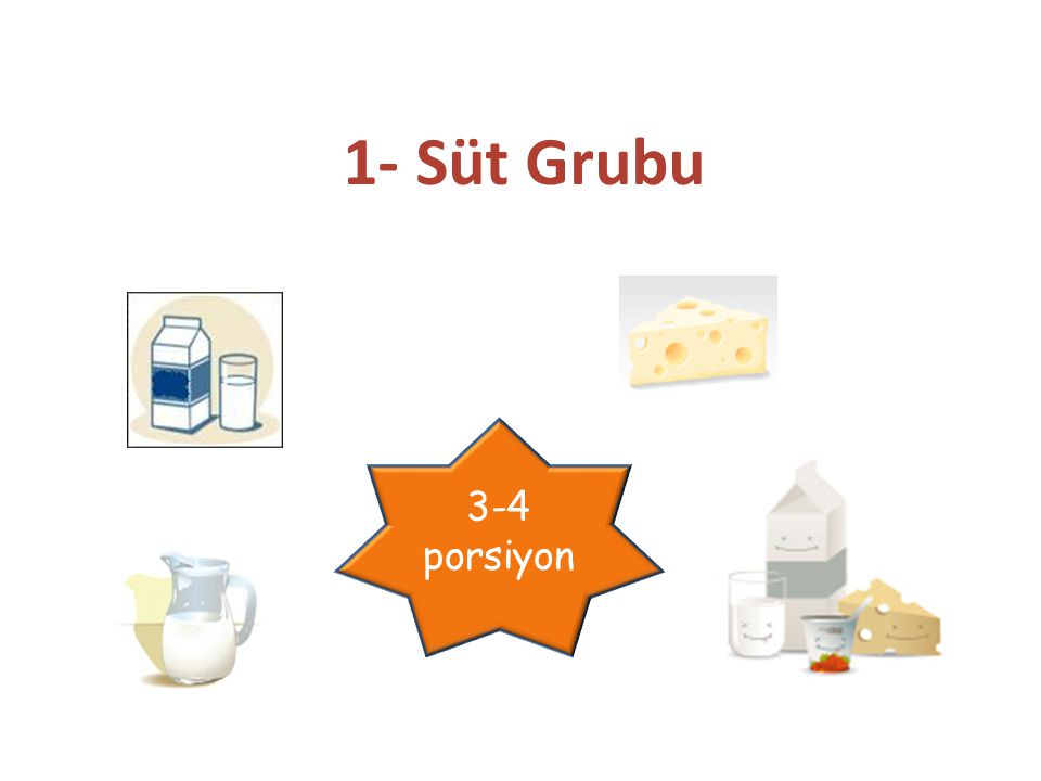 1- Süt Grubu 3-4 porsiyon