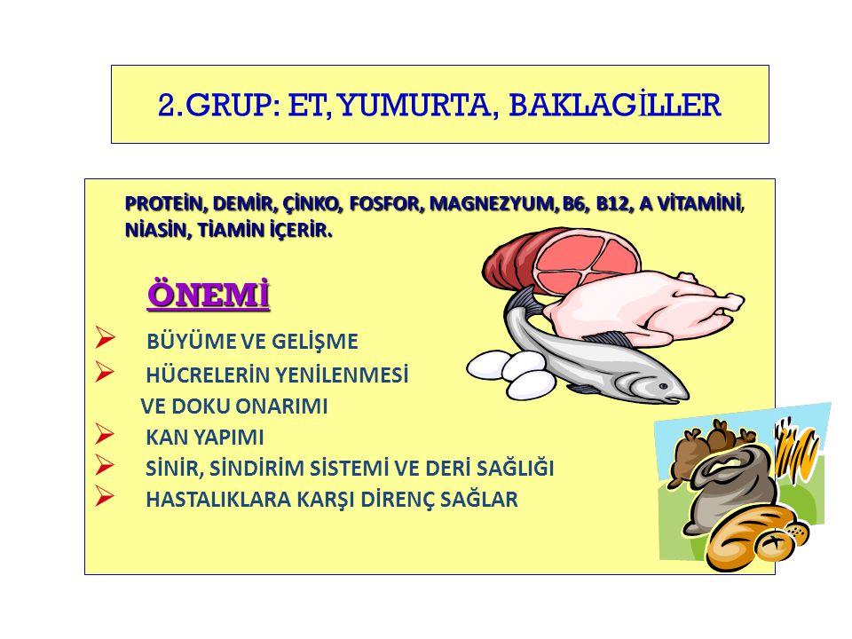 2.GRUP: ET, YUMURTA, BAKLAGİLLER