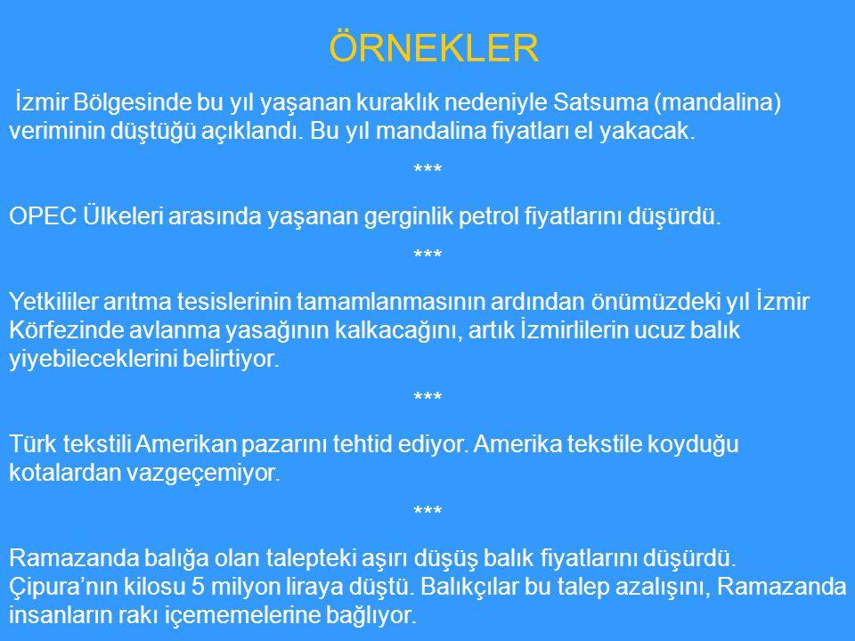 ÖRNEKLER İzmir Bölgesinde bu yıl yaşanan kuraklık nedeniyle Satsuma (mandalina) veriminin düştüğü açıklandı. Bu yıl mandalina fiyatları el yakacak.