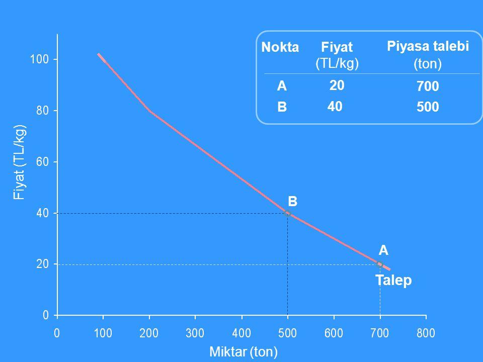 Talep Nokta Fiyat (TL/kg) 20 40 Piyasa talebi (ton) 700 500 A B
