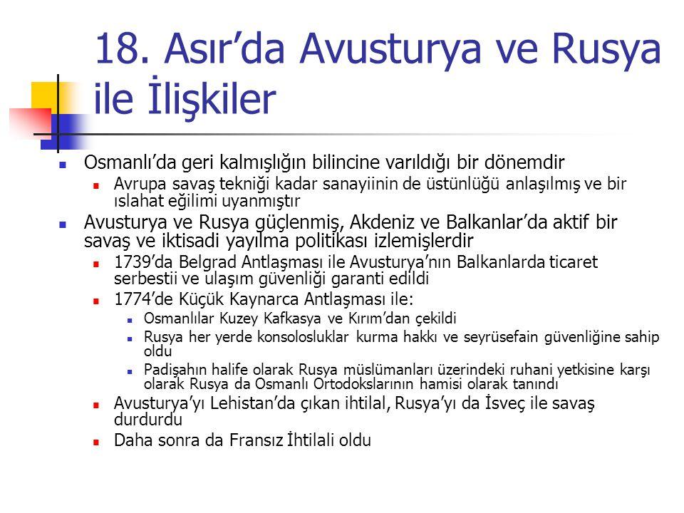 18. Asır'da Avusturya ve Rusya ile İlişkiler