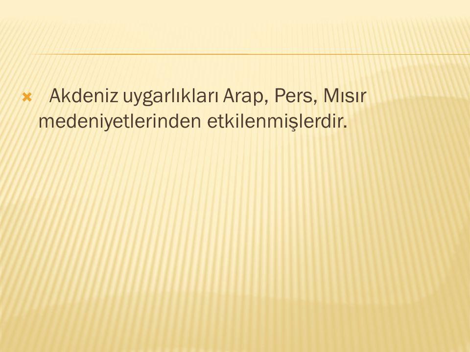 Akdeniz uygarlıkları Arap, Pers, Mısır medeniyetlerinden etkilenmişlerdir.