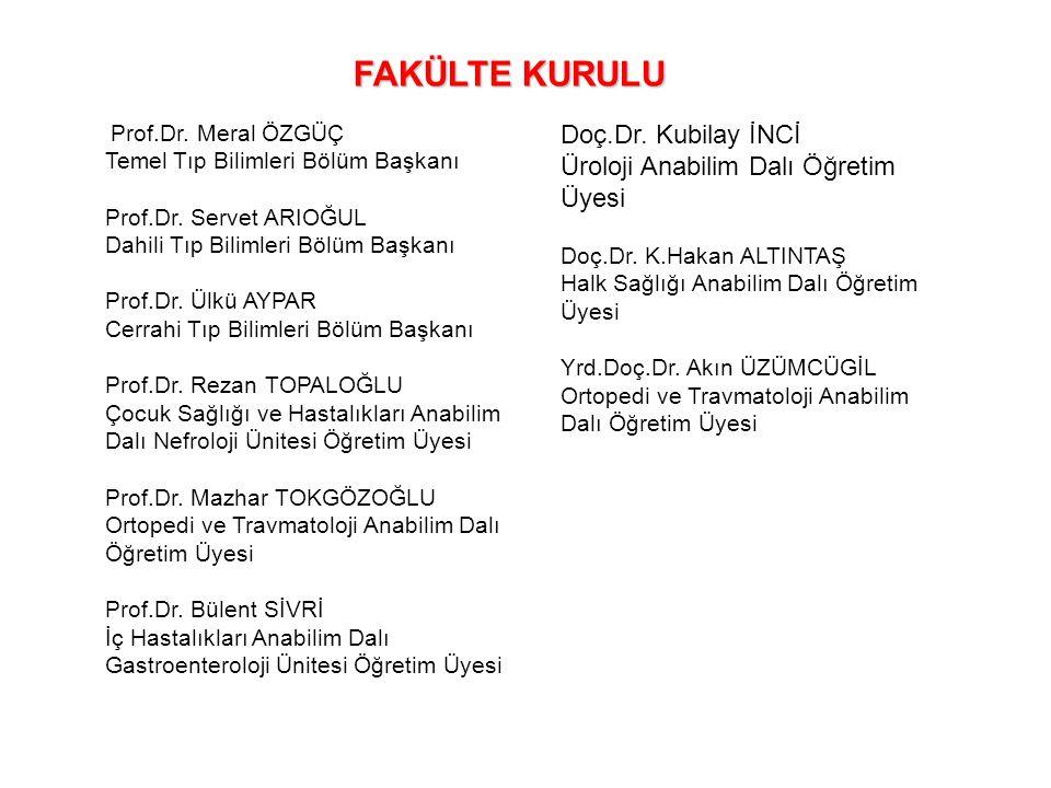 FAKÜLTE KURULU Doç.Dr. Kubilay İNCİ
