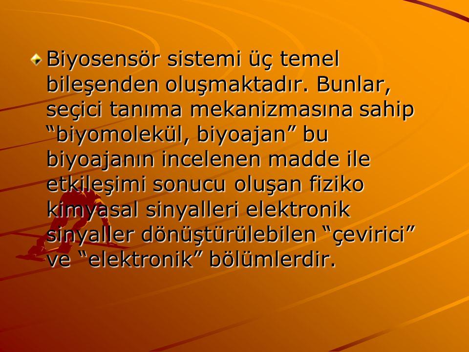 Biyosensör sistemi üç temel bileşenden oluşmaktadır