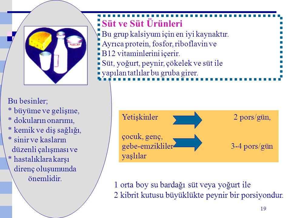 Süt ve Süt Ürünleri 1 orta boy su bardağı süt veya yoğurt ile