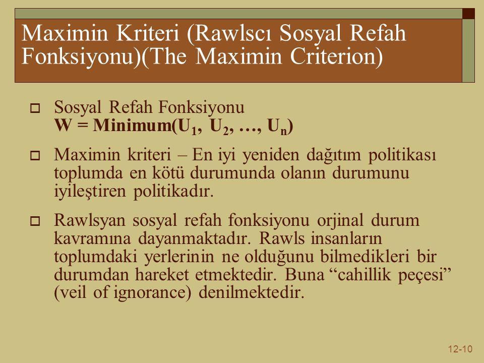 Maximin Kriteri (Rawlscı Sosyal Refah Fonksiyonu)(The Maximin Criterion)