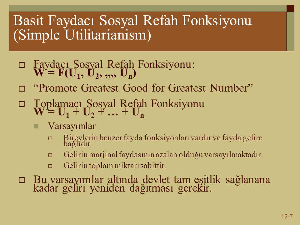 Basit Faydacı Sosyal Refah Fonksiyonu (Simple Utilitarianism)
