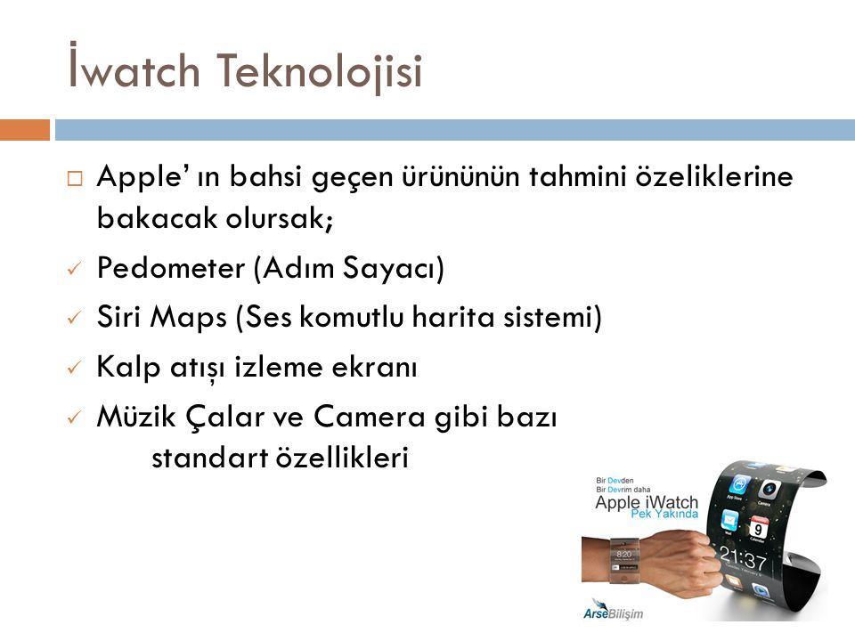 İwatch Teknolojisi Apple' ın bahsi geçen ürününün tahmini özeliklerine bakacak olursak; Pedometer (Adım Sayacı)