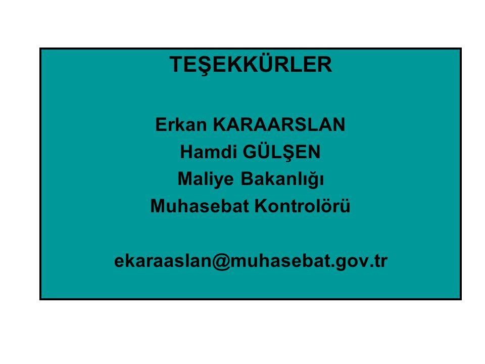 TEŞEKKÜRLER Erkan KARAARSLAN Hamdi GÜLŞEN Maliye Bakanlığı