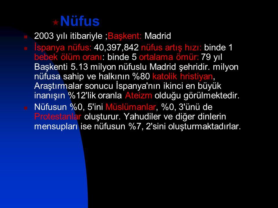 Nüfus 2003 yılı itibariyle ;Başkent: Madrid