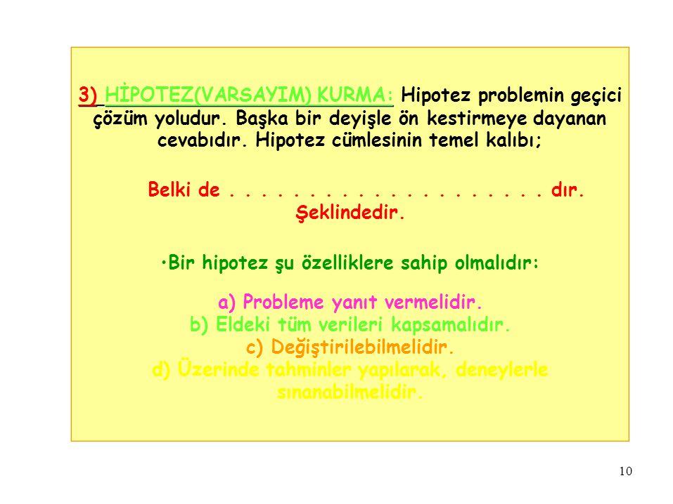 3) HİPOTEZ(VARSAYIM) KURMA: Hipotez problemin geçici