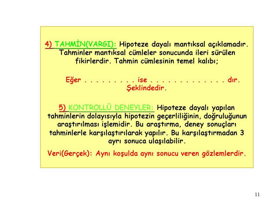 4) TAHMİN(VARGI): Hipoteze dayalı mantıksal açıklamadır.