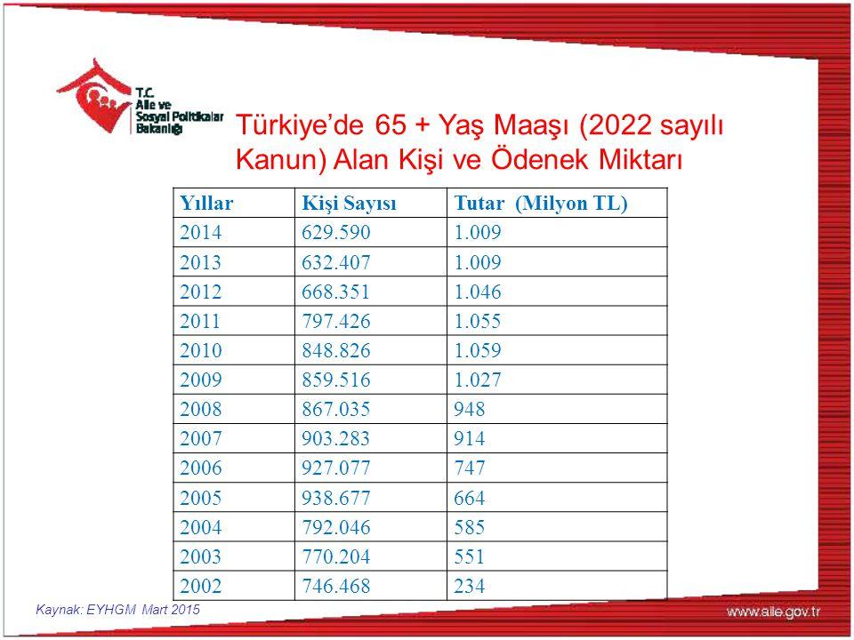 Türkiye'de 65 + Yaş Maaşı (2022 sayılı Kanun) Alan Kişi ve Ödenek Miktarı